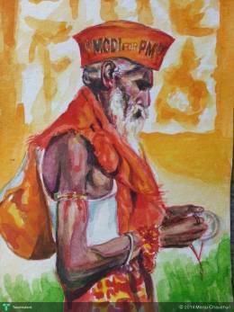 A Modi Supporter In Varanasi - Painting | Manju Chaudhuri | Touchtalent
