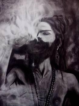 Aghori- The Cannibal - Painting   Lakshman Poudel   Touchtalent