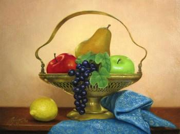 Fruits And Teal Fabric - Painting | Alex Sibug | Touchtalent