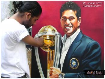 God Of Cricket (Sachin Tendulker) - Painting | Dhaval Khatri | Touchtalent