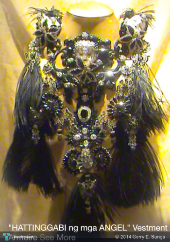 """HATINGGABI""-MIDNIGHT {bejeweled Ivory Doll Heads With Diamonds Ornaments & Black Ostrich Feathers Neckpiece Cum Armoire} Limited Series - Fashion 