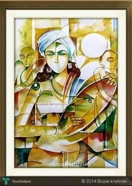 Indian Music Man-Water Colour - Painting | Gopala Krishnan | Touchtalent