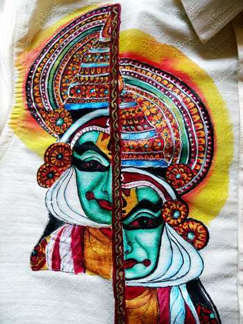 Kathkali fabric painting on shirt painting anjali for Aithihya mural painting fabrics