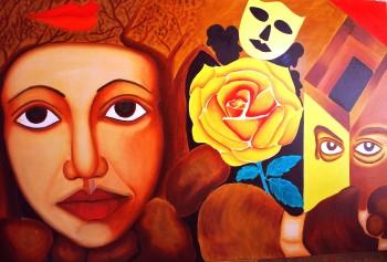 """MASK"" (OIL ON CANVAS) 72 X 48 INCHES - Painting 