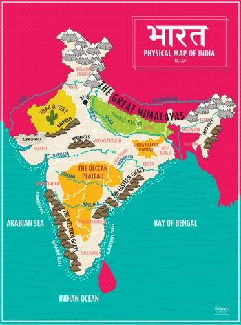 Map Of India Physical Features Digital Art Dollcee Khattar