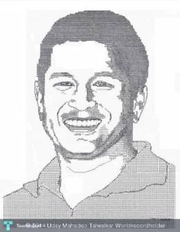 Master Blaster Sachin Tendulkar - Unique Portrait Made On Manual Typewriter - Painting | Uday Mahadeo Talwalkar Worldrecordholder | Touchtalent