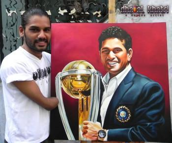 Mr. Sachin Tendulkar - Painting | Dhaval Khatri | Touchtalent