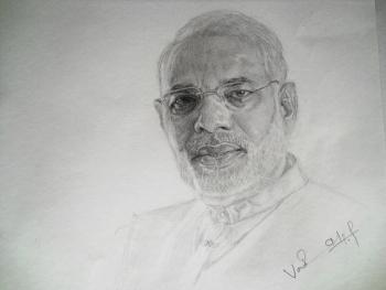 Narendra Modi - Sketching | Vaisakh Pradeep | Touchtalent