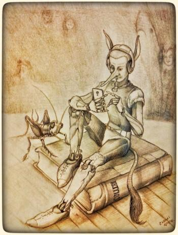 Pinocchio With A Smartphone. - Sketching | Edwin Vargas | Touchtalent