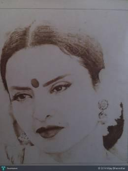 Rekha (By Agarbatti) - Painting   Vijay Dhanedhar   Touchtalent