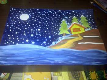 Stars And Snows : Done By A Class 3 Kid :) - Painting | Vipin Kc | Touchtalent