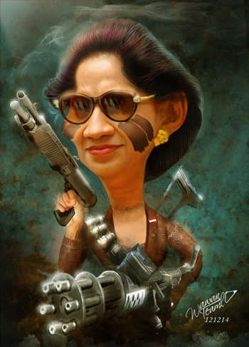Susi - Indonesian Marine Minister - Painting | Wawan Teamlo | Touchtalent