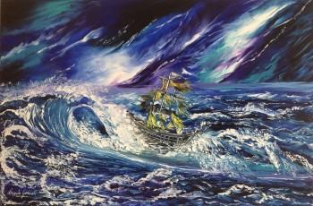 """The Fury Of The Sea"" Oil On Canvas Using Palette Knife,size 24""x36"" - Painting 