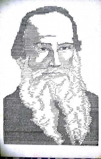 Typewriter Portrait - Leo Tolstoy - Painting | Uday Mahadeo Talwalkar Worldrecordholder | Touchtalent
