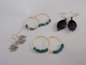 Upcycled Earrings , Hoops, Black Stone, And Snowflake - Crafts | Maya Rodriguez | Touchtalent