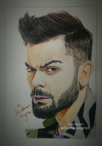 Virat Kohli S Portrait Drawn By Me Sketching Shubham