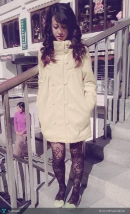 Yellow Coat, Laced Leggings, Flats - Fashion | Preeti Nirola | Touchtalent
