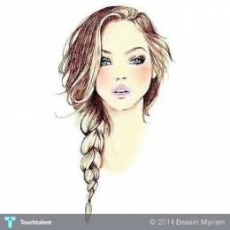 Hair Drawing - Design | Dessin Myriam | Touchtalent
