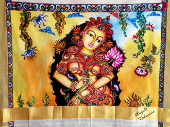 Kerala mural style on fabric celestial beauty painting for Aithihya mural painting fabrics