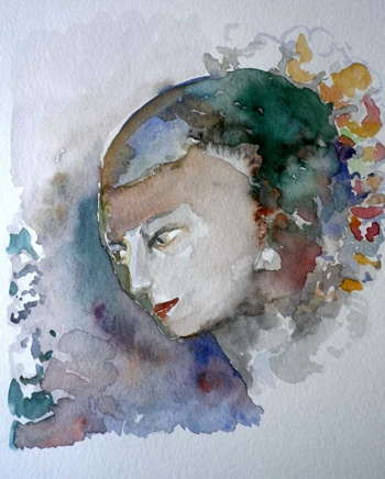 Watercolor  After  Engraving  Of Odilon Redon - Painting | Re Chab | Touchtalent