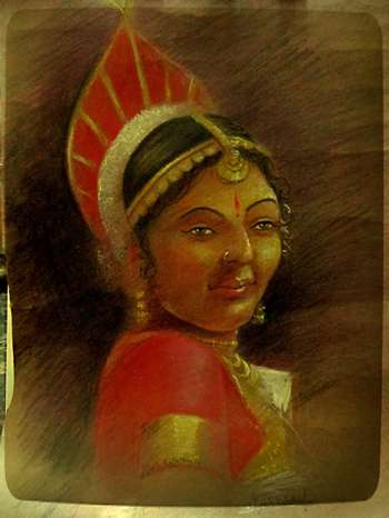 Yakshagana Lady Colour Pencil Art Painting Vignesh